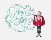 Merry christmas message vector in cursive green with hipster san — Stock Vector