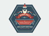 Stylish merry christmas message banner with illustrations — Stock Vector