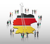 Business people vector with german flag and country outline — Stock Vector