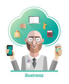 Businessman vector with cloud and text — Stock Vector