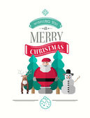 Merry christmas message vector with cute illustrations — Stock Vector