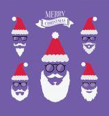 Merry christmas vector with santa beards — Stock Vector