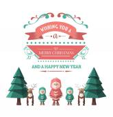 Merry christmas message vector with cute illustrations — 图库矢量图片