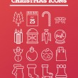 Christmas icons on red vector — Stock Vector #56178905