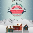 Christmas greeting message over snowy village — Stock Vector #56178913