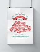 Christmas greeting message with illustrations on poster — Stock Vector