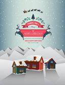 Christmas greeting message over snowy village — Stock Vector
