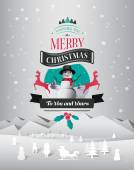 Christmas greeting message with illustrations vector — Stock Vector