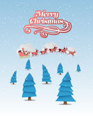 Merry christmas vector with cute illustrations — Stock Vector