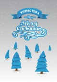 Merry christmas vector with cute tree illustrations — Stock Vector
