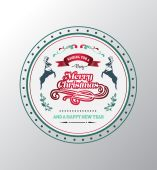 Merry christmas vector with text and illustrations — Stock Vector