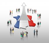 Business people standing with ladder arrow and french flag — Stock Vector