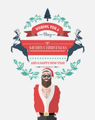 Hipster santa with christmas message — Stock Vector