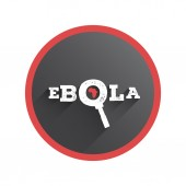 Ebola under the magnifying glass vector — Stock Vector