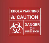 Ebola warming sign vector with text and symbols — Stock Vector