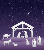 Nativity scene vector under starry sky — Stock Vector