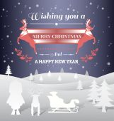 Christmas vector with message and characters — Stock Vector