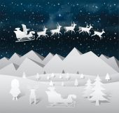Christmas vector with flying santa and reindeer — Stock Vector