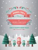 Merry christmas and happy new year vector — Vettoriale Stock