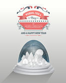 Merry christmas vector with snow globe — Stock Vector