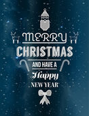 Cute christmas illustrations and message vector — Stock Vector