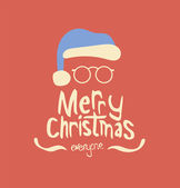 Merry christmas vector with santa hat — Stock Vector