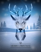 Merry christmas vector with hipster reindeer design — Stock Vector