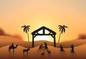 Nativity scene vector in desert — Stock Vector