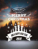 Merry christmas vector against blurry snow scene — Stock Vector