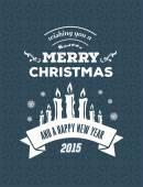 Merry christmas vector against blue background — 图库矢量图片