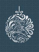 Stylish happy new year design in silver — Vector de stock