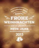 Frohe Weinhnachten vector against golden background — Stock Vector