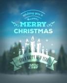 Merry christmas vector against blurry snow scene — ストックベクタ