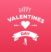 Happy valentines day vector on pink pattern — Stock Vector