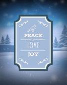 Peace love and joy vector against snowy scene — Stock Vector
