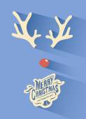 Merry christmas vector with rudolph nose — Stock Vector