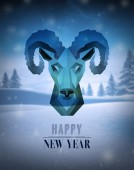 Happy new year vector with ram design — Stockvector