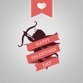 Happy Valentines Day vector with cupid — Vector de stock