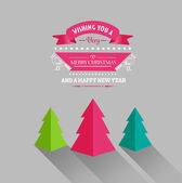 Merry christmas and happy new year vector with trees — Stock Vector