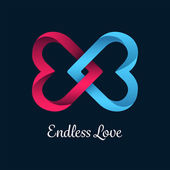 Endless love vector with linking hearts — Stock Vector