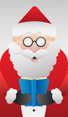 Cute santa claus reading vector — Cтоковый вектор
