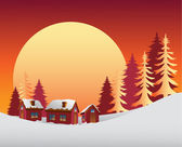 Snowy scene with the sunrise — Stock Vector