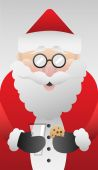 Cute santa claus with cookie vector — Stock Vector
