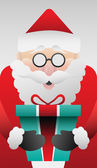 Cute santa claus with gift vector — Stock Vector