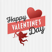 Happy Valentines Day vector with cupid — Stock Vector