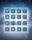 Christmas icons in grid over snowy scene — Stock Vector