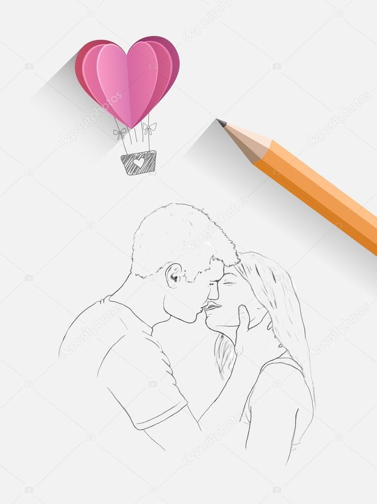 Как рисовать пару которая целуется 59