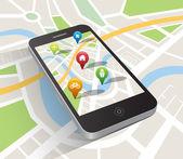 Map application on smartphone — Stock vektor