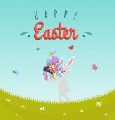 Colorful Happy Easter greeting card — Stock Vector