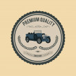 Premium quality badge with car — Stock Vector #70584065